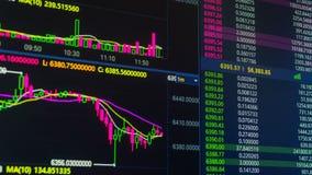 Диаграмма цены cryptocurrency Bitcoin идя вверх и вниз на цифровой обмен рынка акции видеоматериалы