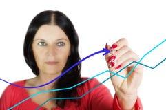 Диаграмма чертежа бизнес-леди с ручкой Стоковая Фотография RF
