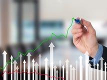 Диаграмма чертежа руки бизнесмена роста на визуальном экране Стоковая Фотография