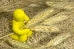 Диаграмма человек пластилина среди зерна, пшеницы ушей Стоковые Фотографии RF