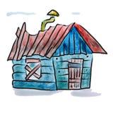 Диаграмма шаржа трубы дома акварели красная голубая Стоковая Фотография RF