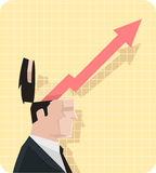 Диаграмма экономики бизнесмена с расширяя стрелкой иллюстрация вектора