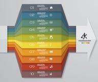 диаграмма элемента Infographics 10 шагов для представления 10 eps Шаблон стрелки для представления дела Стоковое фото RF