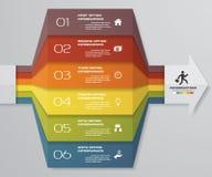 диаграмма элемента Infographics 6 шагов для представления 10 eps Шаблон стрелки для представления дела Стоковые Изображения