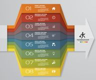 диаграмма элемента Infographics 8 шагов для представления 10 eps Шаблон стрелки для представления дела Стоковое Изображение RF
