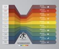 диаграмма элемента Infographics 10 шагов для представления 10 eps Стоковая Фотография