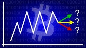 Диаграмма Bitcoin при цена идя вверх и вниз Стоковое Изображение RF