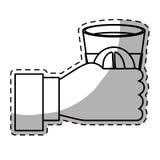 Диаграмма cuppa кофе в значке руки Стоковая Фотография