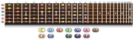 Диаграмма fretboard гитары Стоковое фото RF