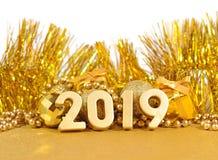 диаграммы 2019 год золотые и золотые украшения рождества Стоковые Фото