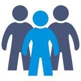 3 диаграммы, голубой силуэт людей, значка вектора иллюстрация штока