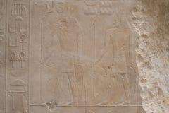 Диаграммы египетских богов и иероглифов Стоковая Фотография