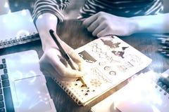 Диаграммы дела чертежа руки Стоковая Фотография RF