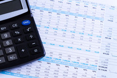Диаграммы и калькулятор Стоковая Фотография RF