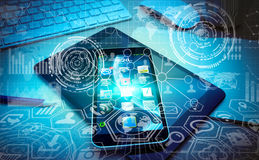 Диаграммы и экран современного whit мобильного телефона цифровые взаимодействуют Стоковые Фото