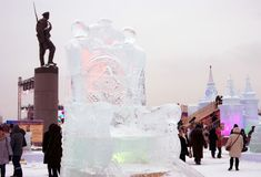 Диаграммы льда в Москве Люди фотографируют они Стоковое Изображение RF