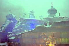 Диаграммы льда в Москве Церковь льда Стоковая Фотография