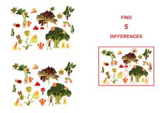 Диаграммы шаржа овощей и плодоовощей, иллюстрации Educa Стоковые Изображения RF