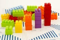 Диаграммы Businees с блоками Стоковое Фото