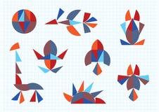 Диаграммы Tangram животных и птиц иллюстрация штока