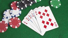 диаманты обломоков топят покер королевский Стоковые Изображения