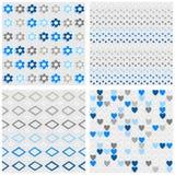 Диаманты точек цветков и комплект картины сердец голубой безшовный Стоковая Фотография RF