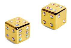 диаманты dice золотистое Стоковая Фотография