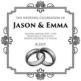 Диапазоны обручальных колец Wedding шаблон приглашения Стоковое Изображение RF