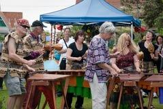 Диапазон маримбы играя на празднестве Parnell роз Стоковое Фото