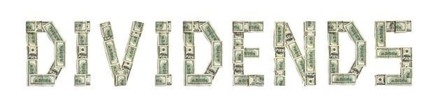 ДИВИДЕНДЫ слова сделанные долларов Стоковая Фотография RF