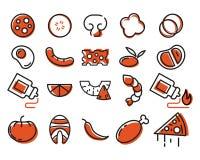 Дизайнерская пицца томат салями пиццы paprica ингридиентов сыра установленные иконы иллюстрация штока