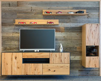 Дизайнерская стена живущей комнаты с кухонным шкафом ТВ деревянным Стоковое Фото