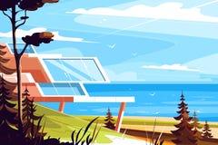 Дизайнерский дом на seashore иллюстрация штока