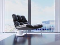 Дизайнерский черный стул окном в современном интерьере Влияние глубины поля иллюстрация вектора
