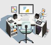 Дизайнерское рабочее место вектор иллюстрация вектора