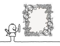 Дизайнер шаржа рисуя винтажную рамку пробела стиля Стоковое Изображение RF