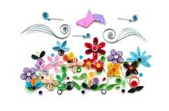Дизайны бумажного цветка Quilling изолированные на белизне Стоковое Изображение