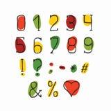 Дизайн алфавита ретро Номера и знаки препинания 10 eps иллюстрация штока