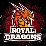 Дизайн баскетбола логотипа спорта дракона Стоковые Изображения RF