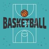 Дизайн баскетбола тематический с баскетбольной площадкой и векторной графикой шарика иллюстрация вектора