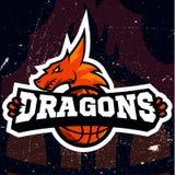 Дизайн баскетбола логотипа спорта дракона Стоковое Изображение