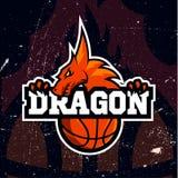 Дизайн баскетбола логотипа спорта дракона Стоковые Изображения