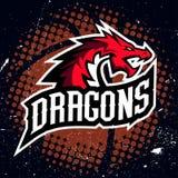 Дизайн баскетбола логотипа спорта дракона Стоковые Фото