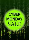 Дизайн бинарного кода понедельника кибер с составом текста в векторе иллюстрация штока