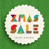 Дизайн бирки продажи рождества для скидок праздника иллюстрация штока