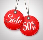Дизайн бирок продажи круга с половинным текстом цены в красном цвете Стоковые Изображения