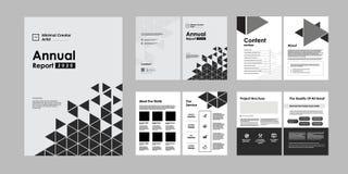 дизайн брошюры 02-Report творческий Универсальный шаблон со страницами крышки, задней части и внутренности Ультрамодное минималис иллюстрация вектора