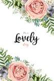 Дизайн букета картины вектора флористический безшовный: персик пинка сада Стоковое Фото