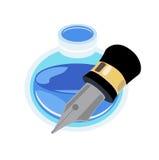 Дизайн бутылки ручки и чернил плоский на белизне Стоковое фото RF