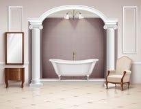 Дизайн ванной комнаты внутренний реалистический иллюстрация вектора